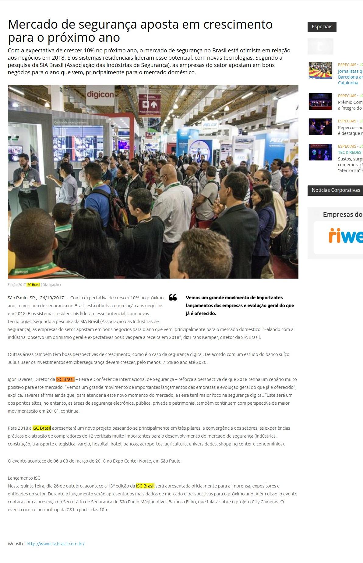 Vemos um grande movimento de importantes lançamentos das empresas e  evolução geral do que já é oferecido. São Paulo, SP , 24 10 2017   6dee14033e