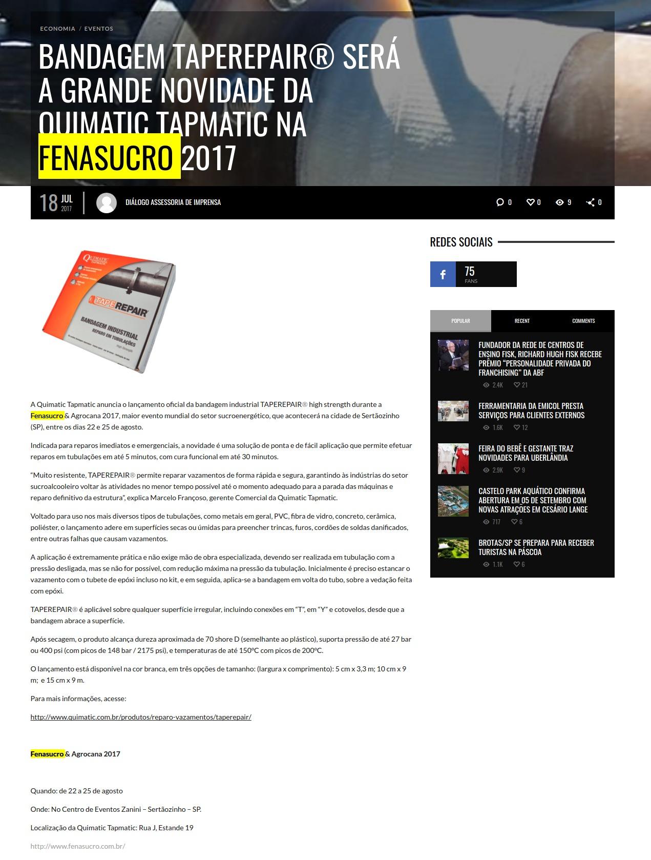41e09a358 A Quimatic Tapmatic anuncia o lançamento oficial da bandagem industrial  TAPEREPAIR® high strength durante a Fenasucro & Agrocana 2017, maior evento  mundial ...